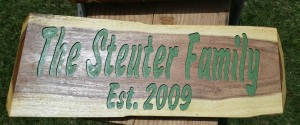 Live Edge Mesquite Carved Wood Sign Family Name Anniversary Date -  Steuter Family 2009 - 1